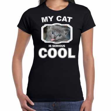 Grijze kat katten / poezen t-shirt my cat is serious cool zwart voor dames