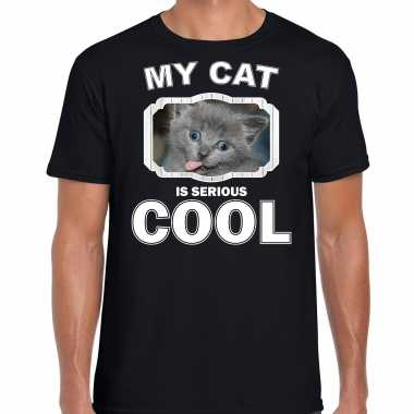 Grijze kat katten / poezen t-shirt my cat is serious cool zwart voor heren