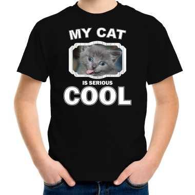Grijze kat katten / poezen t-shirt my cat is serious cool zwart voor kinderen