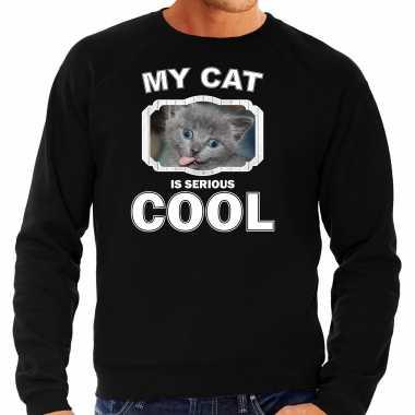 Grijze kat katten sweater / trui my cat is serious cool zwart voor heren