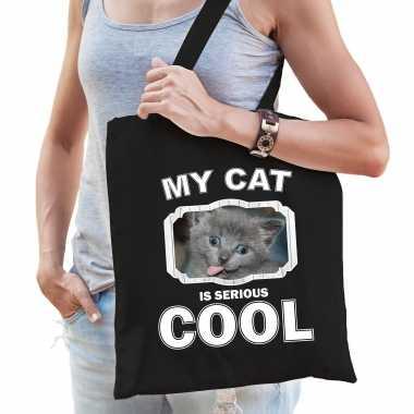 Grijze kat katten tasje zwart volwassenen en kinderen - my cat serious is cool kado boodschappentasj