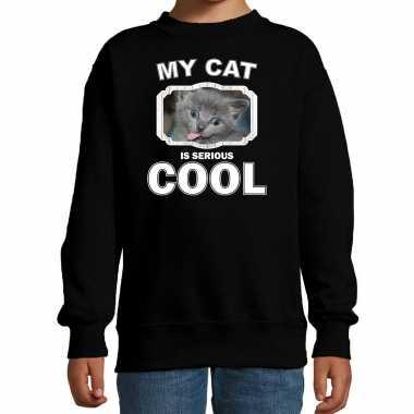 Grijze katten / poezen trui / sweater my cat is serious cool zwart voor kinderen