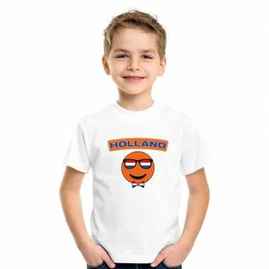 Holland coole smiley t-shirt wit kinderen