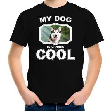 Husky honden t-shirt my dog is serious cool zwart voor kinderen