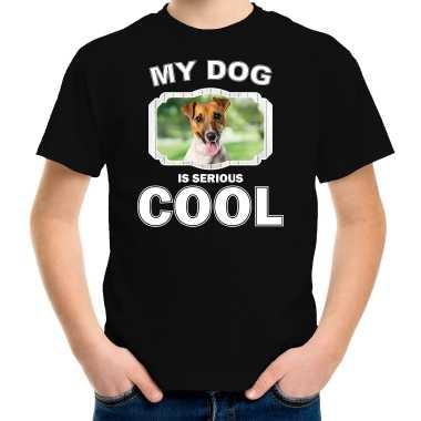Jack russel honden t-shirt my dog is serious cool zwart voor kinderen