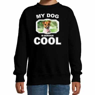 Jack russel honden trui / sweater my dog is serious cool zwart voor kinderen