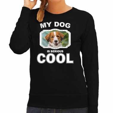 Kooiker honden sweater / trui my dog is serious cool zwart voor dames