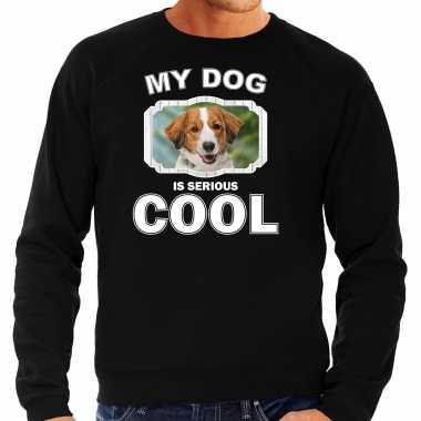 Kooiker honden sweater / trui my dog is serious cool zwart voor heren
