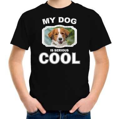 Kooiker honden t-shirt my dog is serious cool zwart voor kinderen
