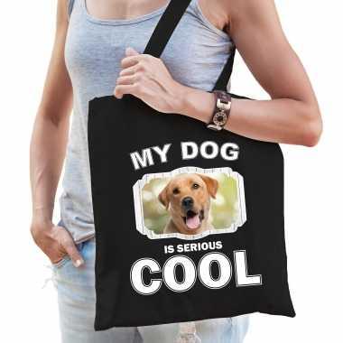 Labrador retriever honden tasje zwart volwassenen en kinderen - my dog serious is cool kado boodscha