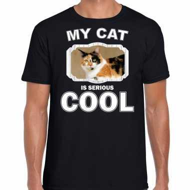 Lapjeskat katten / poezen t-shirt my cat is serious cool zwart voor heren