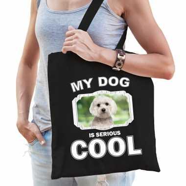 Maltezer honden tasje zwart volwassenen en kinderen - my dog serious is cool kado boodschappentasje