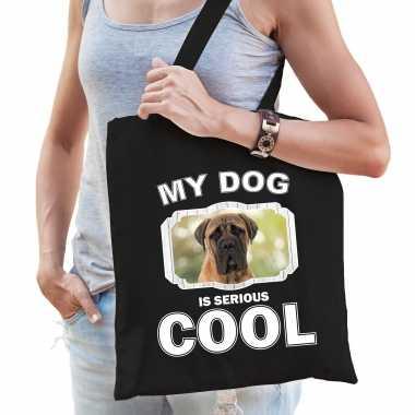 Mastiff honden tasje zwart volwassenen en kinderen - my dog serious is cool kado boodschappentasje