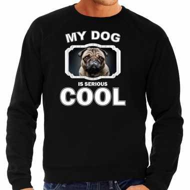 Mopshond honden sweater / trui my dog is serious cool zwart voor heren