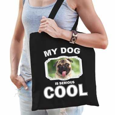 Mopshond honden tasje zwart volwassenen en kinderen - my dog serious is cool kado boodschappentasje