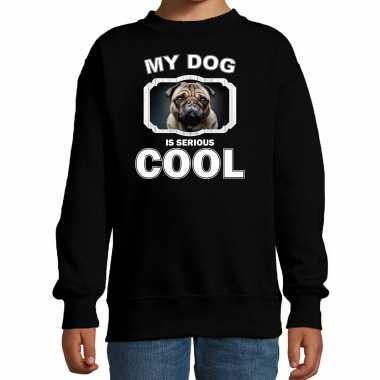 Mopshond honden trui / sweater my dog is serious cool zwart voor kinderen