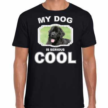 Newfoundlander honden t-shirt my dog is serious cool zwart voor heren