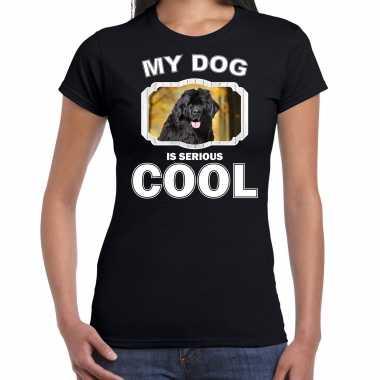 Newfoundlanders honden t-shirt my dog is serious cool zwart voor dames