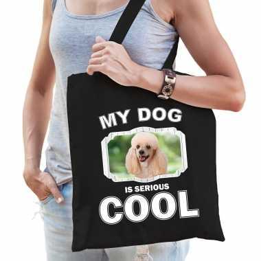 Poedel honden tasje zwart volwassenen en kinderen - my dog serious is cool kado boodschappentasje