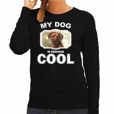 Rhodesian ridgeback honden sweater / trui my dog is serious cool zwart voor dames