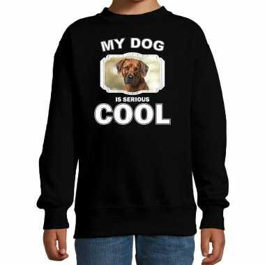 Rhodesian ridgeback honden trui / sweater my dog is serious cool zwart voor kinderen