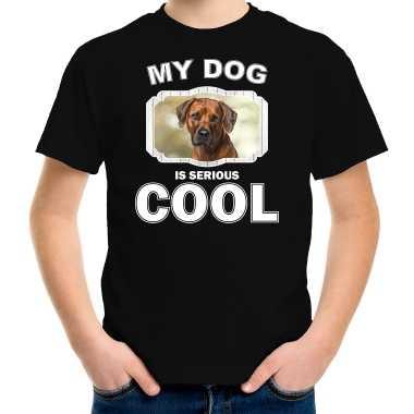 Rhodesian ridgebacks honden t-shirt my dog is serious cool zwart voor kinderen