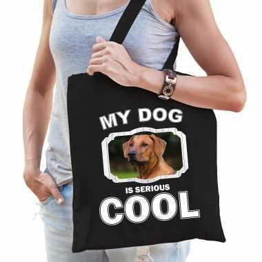 Rhodesische pronkrug honden tasje zwart volwassenen en kinderen - my dog serious is cool kado boods