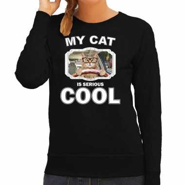 Rijdende kat katten sweater / trui my cat is serious cool zwart voor dames