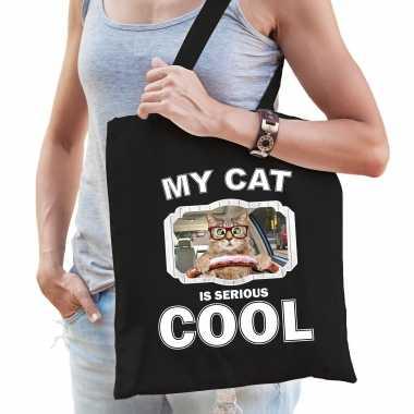 Rode rijdende kat katten tasje zwart volwassenen en kinderen - my cat serious is cool kado boodschap