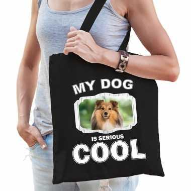 Sheltie honden tasje zwart volwassenen en kinderen - my dog serious is cool kado boodschappentasje