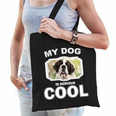 Sint bernard honden tasje zwart volwassenen en kinderen - my dog serious is cool kado boodschappenta