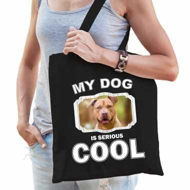 Staffordshire bull terrier honden tasje zwart volwassenen en kinderen - my dog serious is cool kado