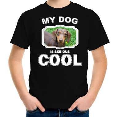 Teckel honden t-shirt my dog is serious cool zwart voor kinderen