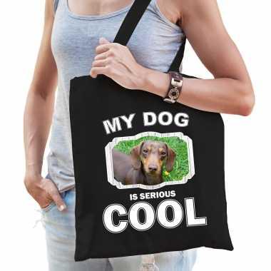 Teckel honden tasje zwart volwassenen en kinderen - my dog serious is cool kado boodschappentasje