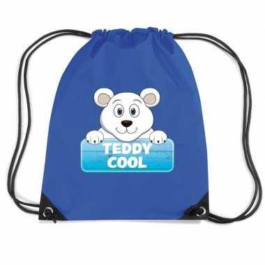 Teddy cool de ijsbeer rugtas / gymtas blauw voor kinderen