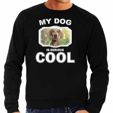 Weimaraner honden sweater / trui my dog is serious cool zwart voor heren