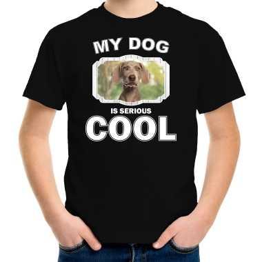 Weimaraner honden t-shirt my dog is serious cool zwart voor kinderen