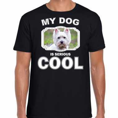West terrier honden t-shirt my dog is serious cool zwart voor heren