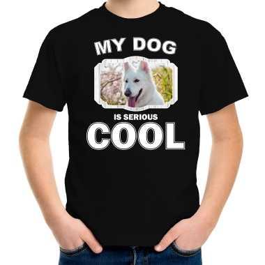 Witte herder honden t-shirt my dog is serious cool zwart voor kinderen