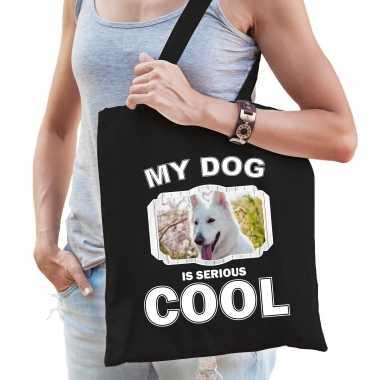 Witte herder honden tasje zwart volwassenen en kinderen - my dog serious is cool kado boodschappenta