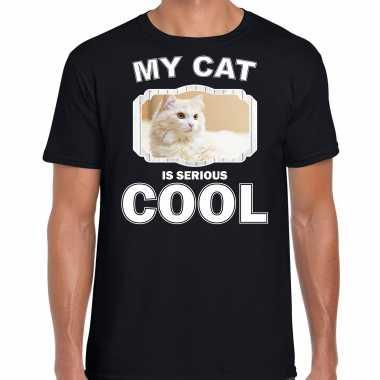 Witte kat katten / poezen t-shirt my cat is serious cool zwart voor heren