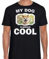 Akita inu honden t shirt my dog is serious cool zwart voor heren