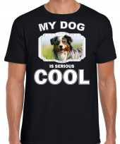Australische herder honden t shirt my dog is serious cool zwart voor heren