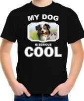 Australische herder honden t shirt my dog is serious cool zwart voor kinderen