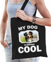 Australische herder honden tasje zwart volwassenen en kinderen my dog serious is cool kado boodsch