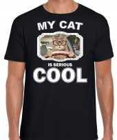 Auto rijdende kat katten poezen t shirt my cat is serious cool zwart voor heren