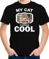 Auto rijdende kat katten poezen t-shirt my cat is serious cool zwart voor kinderen