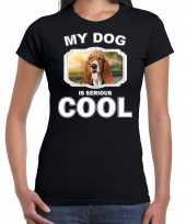 Basset honden t shirt my dog is serious cool zwart voor dames