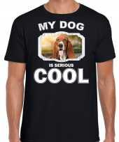 Basset honden t shirt my dog is serious cool zwart voor heren
