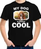 Basset honden t shirt my dog is serious cool zwart voor kinderen